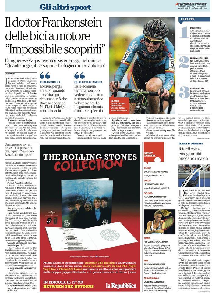 L'intervista su La Repubblica