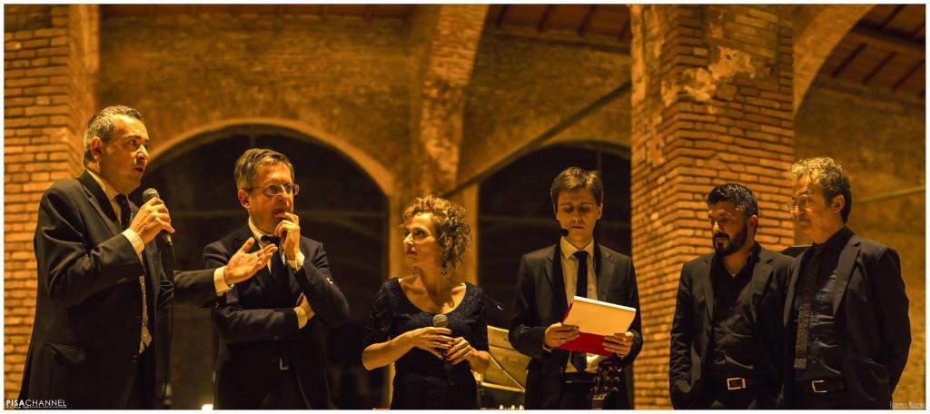 Da sinistra a destra: Eligi, Filippeschi, De Neri, Bufalino, Gattuso, Corrado. Foto Malasoma per Pisachannel.tv